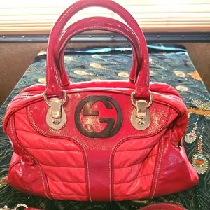Gucci Red Patent Dialux Snow Glam Med Hobo Bag